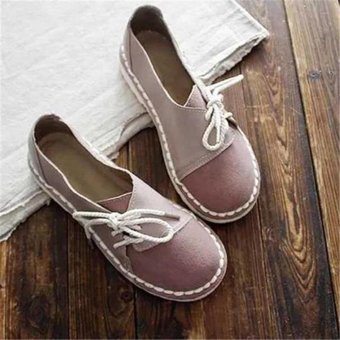 Retro Lace-up Non-slip Casual Women Flats Slip on Half Drag Round Toe Flats Sneakers Ladies Shoes