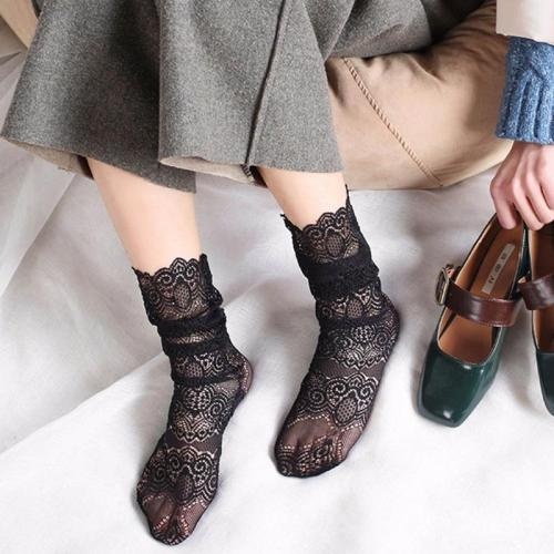 New Fashion Sexy Retro Glitter Print Ankle Lady Socks Transparent Lace Mesh Casual Short Socks Thin Breathable
