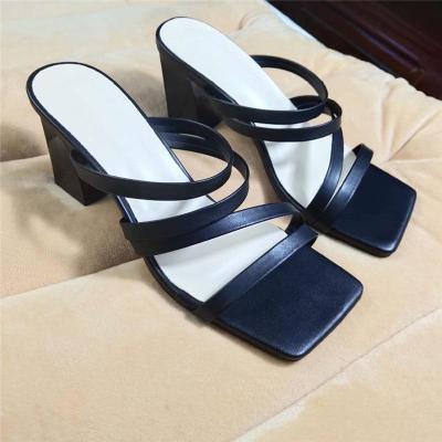 Block Low Heels Slides Women High Heels Sandals Fashion Stripper Slipper Sandles Sexy Shoes