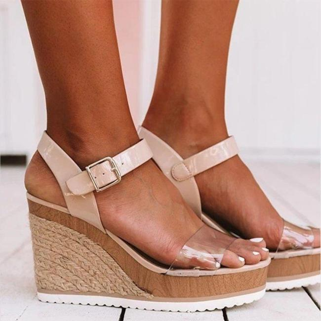 Women Casual Platform Buckle Strap Sandals Fashion Hemp Bottom Peep Toe Beach Sandals Ladies High Heels
