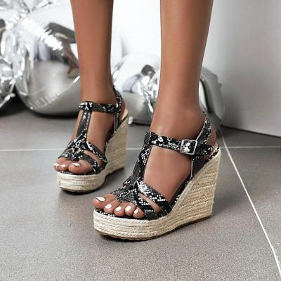 Big Size Platform Straw High Heels Summer Women Wedges Shoes Woman Serpentine Sandals Female