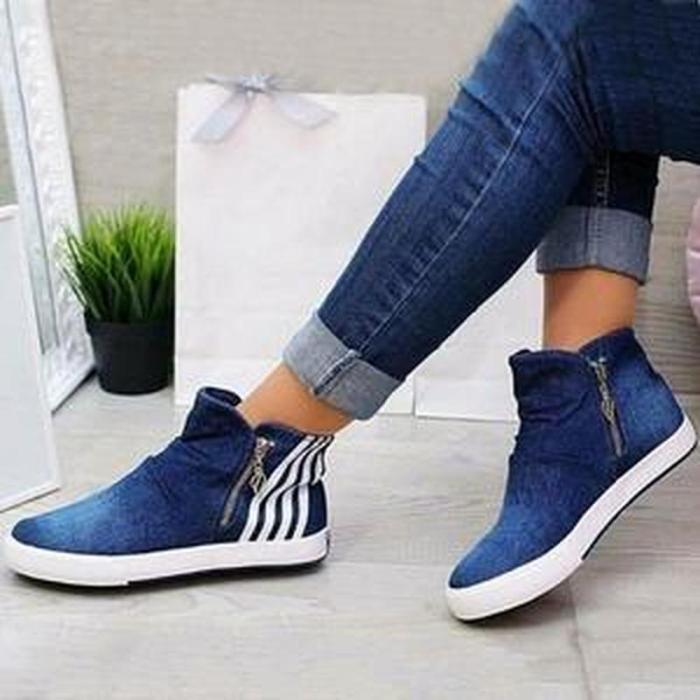Autumn Flats Ankle Boots Jean Booties Casual Plus Size Sneaker Shoes