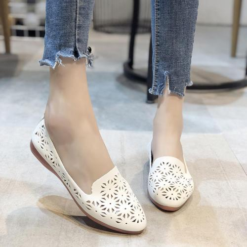 Summer Flats Shoes Woman Leather Low Heels Slip on Comfortable Casual Women Shoes Footwear Leisure Hollow
