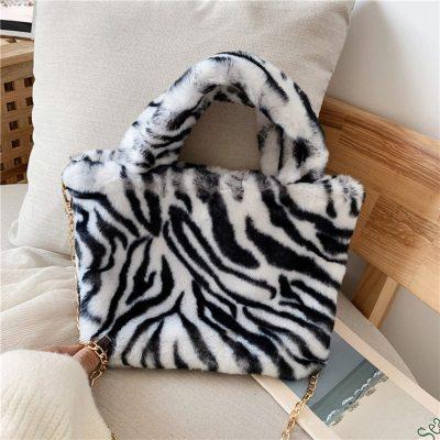 Luxury Woman Fluffy Crossbody Bag Hot Sale Leopard Pattern Plush Handbag Women Cute Pink Fur Messenger Bag Bolsa Fluffy
