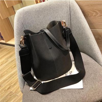 Bag Women Bucket Shoulder Bag Large Capacity Vintage Matte PU Leather Lady Handbag