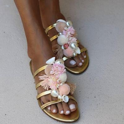 Flat With Beads Flip Flop Slip-On Slippers