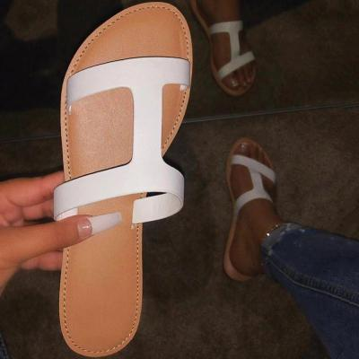 Flip Flop Flat With Thread Slip-On Color Block Casual Slippers