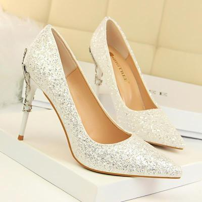 Gold Silver Pumps Sexy Pointed Toe Over 8cm High Heels Wedding Party Shoes Women Pumps