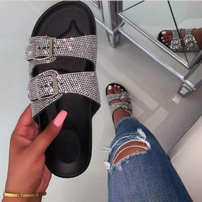 Women Summer Outdoor Slippers Flat Heel Platform Peep Toe Crystal Buckle Slides Fashion