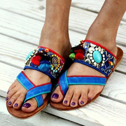 Thread Flat With Thong Slip-On Casual Ethnic Slippers