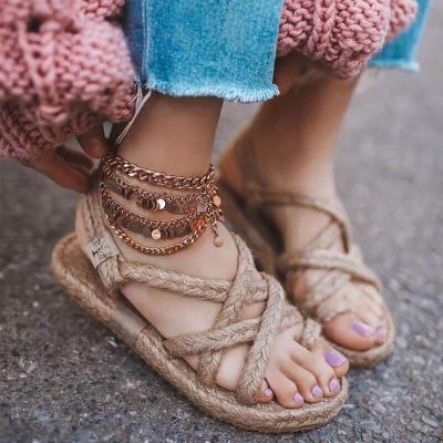 Women Linen Weave Flat For Women High Heels Sandals Summer Shoes Flip Flop Platform Sandals