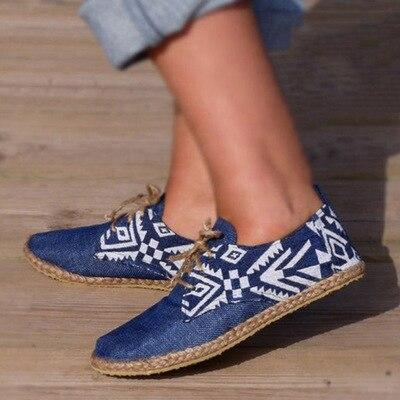 Blue Flat Shoes Women Lace-up Shoes Flat Platform Ladies Comfortable Shoes Casual Real Rushed Hemp