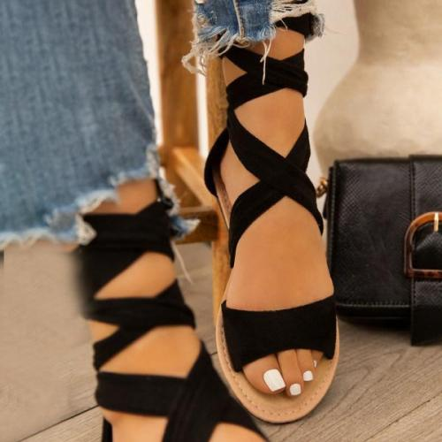 Wild fashion flat cross strap sandals