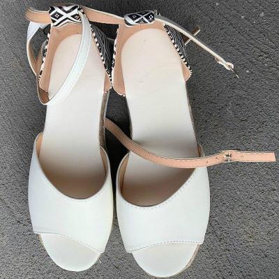 Summer Women Ankle Strap Sandals Platform Flat Mid Heel Sponge Sole Peep Toe 2020