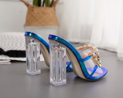 Crystal Slippers Open Toe High Heels Shoes Woman Crystal Transparent Heeled Slippers Sandals