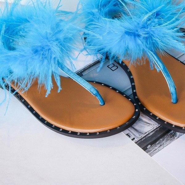 Summer 2020 New Women's Flat Sandals Solid Color Clip Toe Plush Fashion Comfortable Casual Shoes Plus Size 43