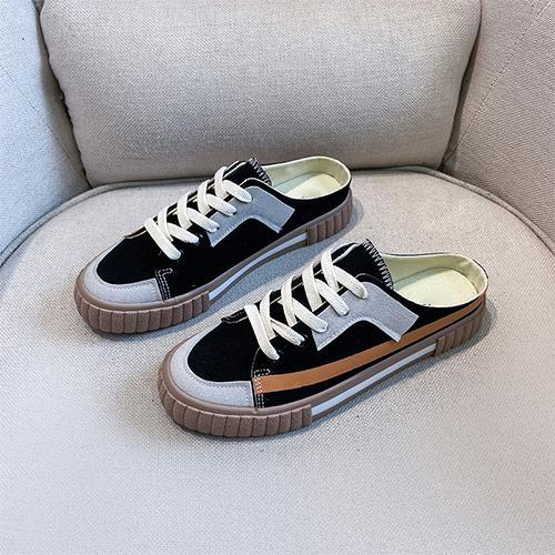 Women Canvas Shoes Woman Female Casual Sneakers Women's Lace Up Striped Flats Ladies