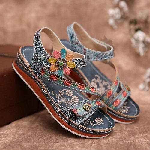 Women Sandals Heeled Slippers Flower Summer Shoes Casual Beach Shoes Flip Flop Platform