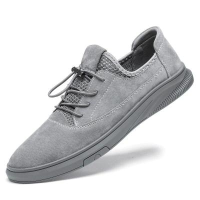 Mens Leather Shoes Fashion Casual Sneakers Suede Leather Walking Footwear Summer Man's Shoe Khaki Breathable