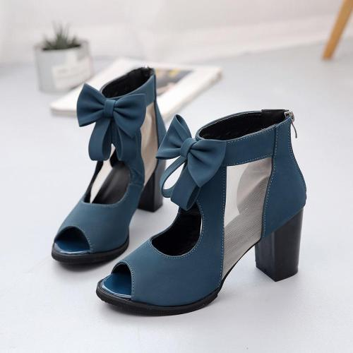 Zipper Bow Women's Sandals New Chunky Heel Shoes Sexy High Heels
