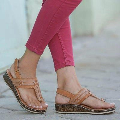 Women Slip OnSandals Summer Wedge Casual Comfy Thong Slingback Lightweight Buckle Strap Shoes Beach Peep Toe Female Sandals