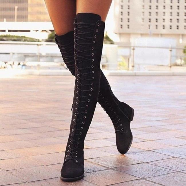 Women Shoes Genuine Leather Female Over The Knee Martin Boots Suede Women British Retro Trend Women Naked Boots