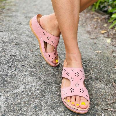 Women Summer Sandals Flat Wedges Shoes Woman Vintage PU Leather Gladiator