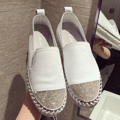 Patchwork Woman Genuine Leather Creepers Loafers Flats