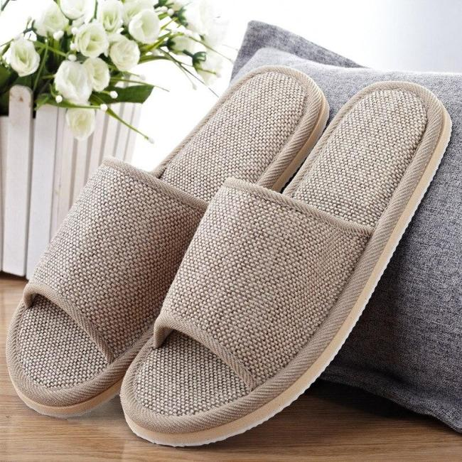 Women Indoor Slippers Spring Summer Flat Shoes Woman Fashion Flax Home Slippers Female Slip On Floor Slides