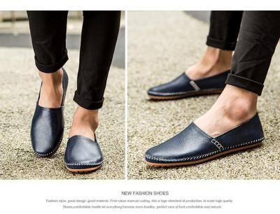 Men Non-slip Fashion Slip On Genuine Leather Flats Moccasins Loafers Shoes