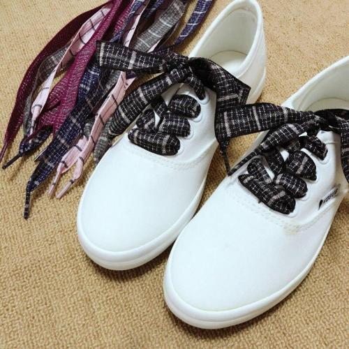 Wide Flat British Style Shoelaces Women Linen Laces Sneaker Sport Shoeslace