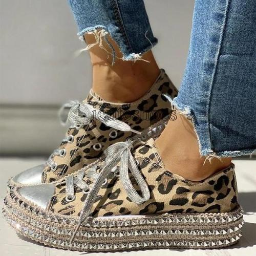 Women's Leopard Rivets Sneakers