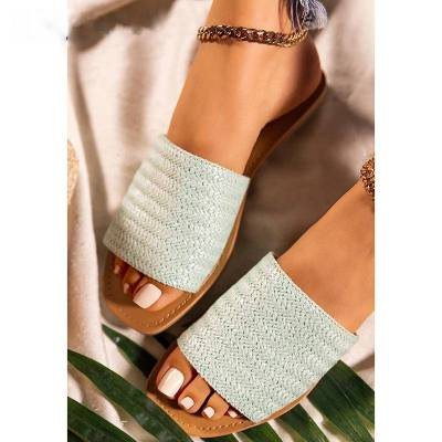 Woman Slippers Summer Women's Open Round Toe Weave Slippers Outdoor Casual Non-slip Beach Shoes Flat Soft Sole Shoes