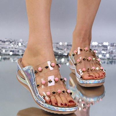 Slippers Ladies Glitter PU Wedges Shoes Female Casual Rivet Sandal