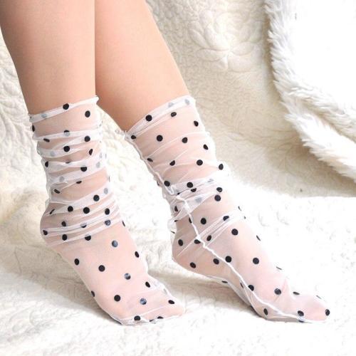 Women's Breathable Transparent Mesh Polka Dot Socks Ladies Girls Vintage Gauze Dots Socks Female Sox