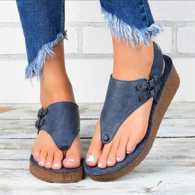 Platform Summer Women Sandals Rome Style Flip Flops Gladiator Punch Breathable Leather Black Brown Flats