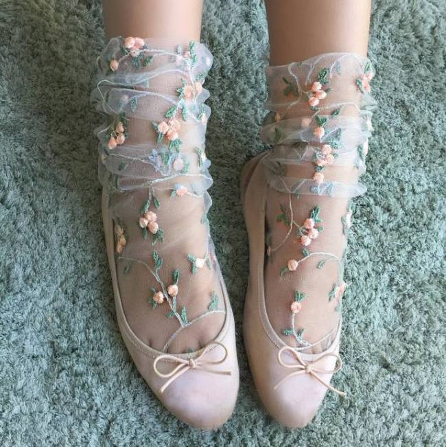 Women's Candy Colors Embroidery Flowers Socks Lolita Ladies Girl's Transparent Lace Mesh Floral Socks