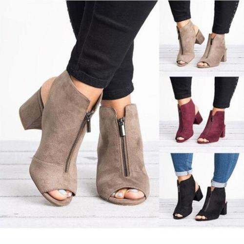 Women's Large Size Fish Mouth Chunky Heel Sandals