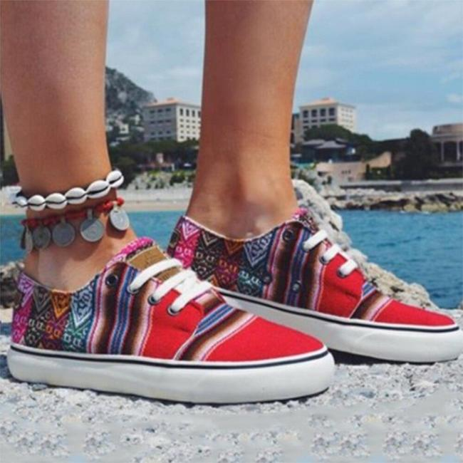 Summer Women Sneakers Ethnic Lace Up Casual Flat Shoes Ladies Board Comfort Ladies Couple Sneakers Female Size