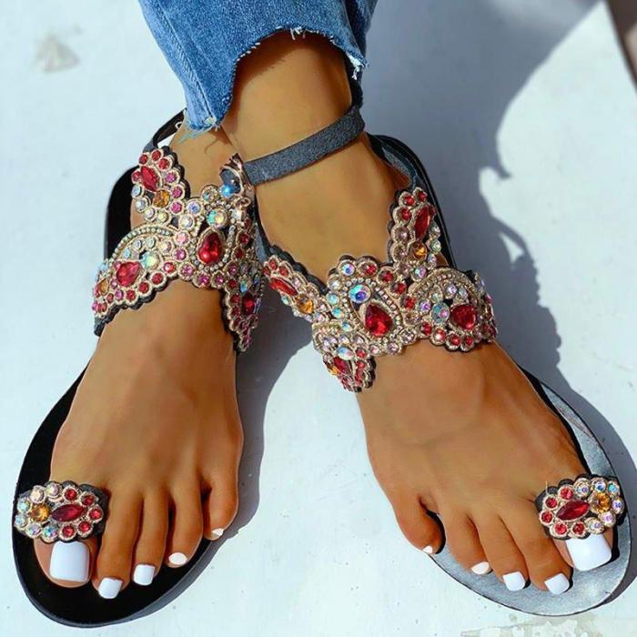 Women Summer Beach Sandals Flats Plus Size Shoes Woman Bling Shiny Crystal Butterfly Sandalias