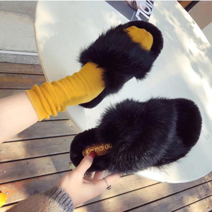 Winter Women Slipper Furry Warm Slip on Ladies Fluffy Mules Cross Soft Indoor Slides Flip Flops Plush Shoes