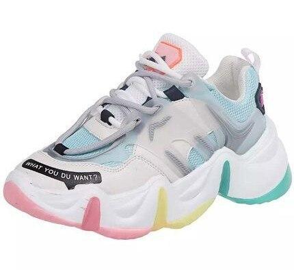 Rainbow Color Chunky Sneakers Women's shoes Summer leisure outdoor sneakers Breathable mesh Height