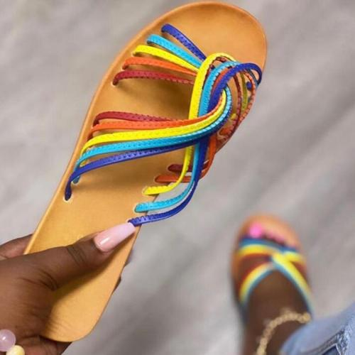 2020 New Woman's Summer Flat Sandals Open Toe Rainbow Outdoor Beach Shoes Fashion Comfortable Plus Size 41