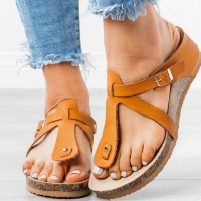 Summer Women Wedges Slippers Solid Pu Leather Buckle Peep Toe Flip Flops Casual