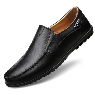 Genuine Leather Men Casual Shoes Luxury Mens Loafers Slip on Black Driving Shoes Plus Size