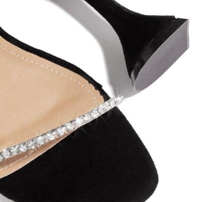 Flip Flop Stiletto Heel Slip-On Rhinestone Casual Summer Slippers