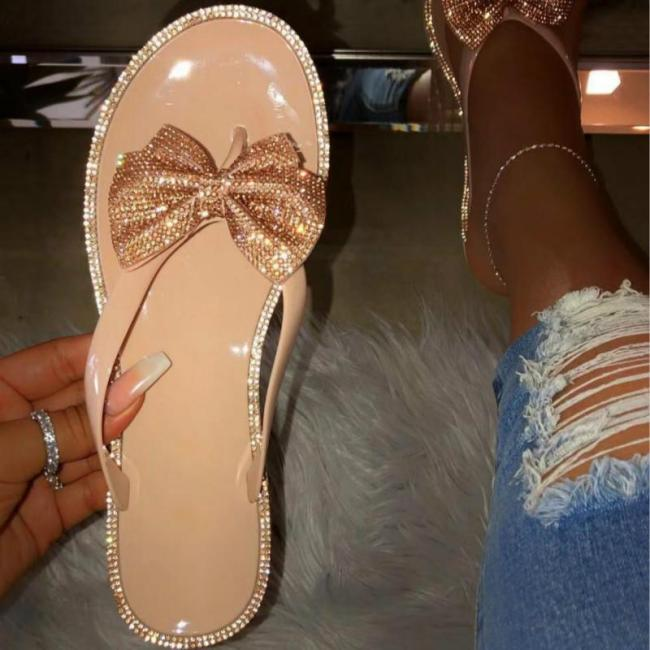 Women's Summer Slippers Shoes Non-slip Fashion Diamond Cute Bow Flat Heel Female Slides