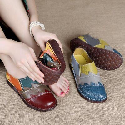 Female National Wind Non-slip Comfortable Flat Sole Shoes Middle-aged Casual Shallow Mouth Large Size Shoes