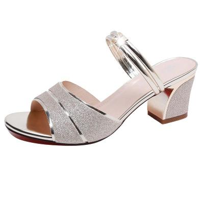 Out Wearing Chunky Heeled Cool Slippers Women In Summer Fashion Sandals for Women