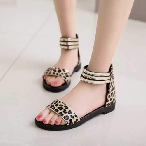 Fashion Summer Casual Sandals Open Toe Flats Women Shoes Solid